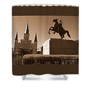 Jackson Square In New Orleans - Sepia Shower Curtain