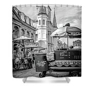 Jackson Square Scene New Orleans - Bw  Shower Curtain