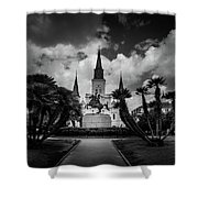 Jackson Square Sunrise In Black And White Shower Curtain