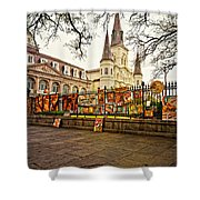 Jackson Square Winter - Artistic Shower Curtain
