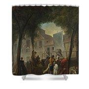 Jacques De Saint Aubin   A Street Show In Paris Shower Curtain
