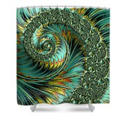 Jade And Yellow Fractal Spiral Shower Curtain