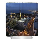 Jaffa At Night Aerial View Shower Curtain