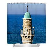 Jaffa, The Turret Of The El Baher Mosque Shower Curtain