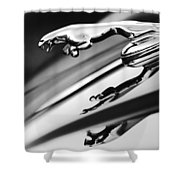 Jaguar Car Hood Ornament Black And White Shower Curtain