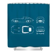 Jaguar E Type Blueprint - Red Shower Curtain