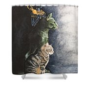 Jake And The Ancestors-pet Portrait Shower Curtain