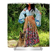 Jalma With Her Dog Ryzhko Shower Curtain