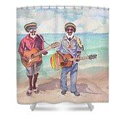Jamaican Musician Watercolor Shower Curtain