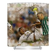 James Rodriguez Performs An Overhead Kick  Shower Curtain