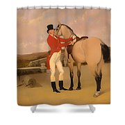 James Taylor Wray Of The Bedale Hunt With His Dun Hunter Shower Curtain