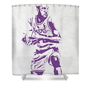 James Worthy Los Angeles Lakers Pixel Art Shower Curtain