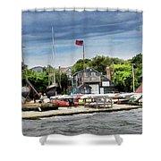 Jamestown Boat Yard Shower Curtain