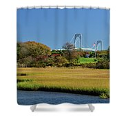 Jamestown Marsh With Pell Bridge Shower Curtain