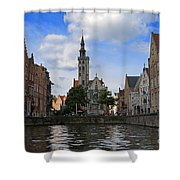 Jan Van Eyck Square With The Poortersloge From The Canal In Bruges Shower Curtain