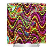 Janca Abstract Wave Panel #5at Shower Curtain