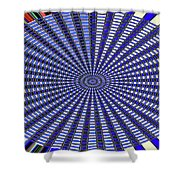 Janca Blue Oval Abstract 9646w11 Shower Curtain
