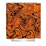 Janca Red Power Tower Abstract Shower Curtain