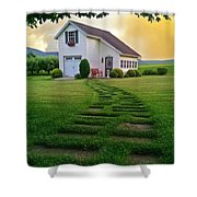 Jandy's Shed Shower Curtain by Stephanie Calhoun