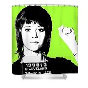 Jane Fonda Mug Shot - Lime Shower Curtain