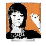 Jane Fonda Mug Shot - Orange Shower Curtain