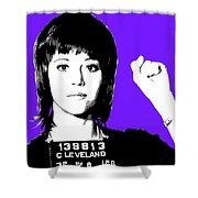 Jane Fonda Mug Shot - Purple Shower Curtain