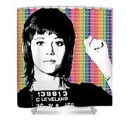Jane Fonda Mug Shot - Rainbow Shower Curtain