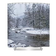 January Snow On The River Shower Curtain