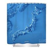 Japan 3d Render Topographic Map Blue Border Shower Curtain