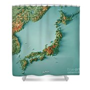 Japan 3d Render Topographic Map Border Shower Curtain