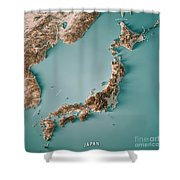 Japan 3d Render Topographic Map Neutral Border Shower Curtain