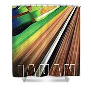 Japan, Japanese Railways, Travel Poster Shower Curtain