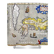 Japan: Map, 1606 Shower Curtain