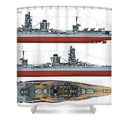 Japanese Battleship Ise Shower Curtain