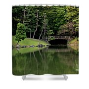 Japanese Garden Bridge Reflection Shower Curtain