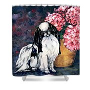 Japanese Chin And Hydrangeas Shower Curtain