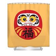 Japanese Daruma Doll Illustration Shower Curtain