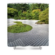 Japanese Flat Garden With Checkerboard Pattern Shower Curtain