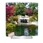 Japanese Garden Bridge And Koi Pond Shower Curtain