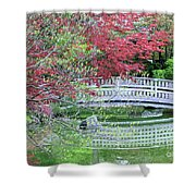 Japanese Garden Bridge In Springtime Shower Curtain