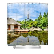 Japanese Garden In Park With Tower Shower Curtain