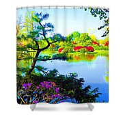 Japanese Garden In Spring Shower Curtain