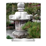 Japanese Garden Stone Lantern Statue Shower Curtain