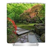 Japanese Garden Strolling Stone Path Shower Curtain