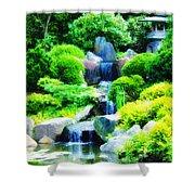Japanese Garden Waterfall Shower Curtain