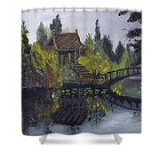 Japanese Garden With Bridge Shower Curtain