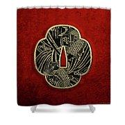 Japanese Katana Tsuba - Golden Twin Koi On Black Steel Over Red Velvet Shower Curtain