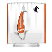 Japanese Koi Doitsu Hariwake Feng Shui Metal Shower Curtain
