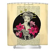 Japanese Lady With Cherry Blossoms Shower Curtain