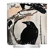 Japanese Print: Crow Shower Curtain